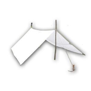 Lagerplane in der Größe 4x5-Metern, Farbe Natur und 350g Stoff pro qm2 mit Metallringen.