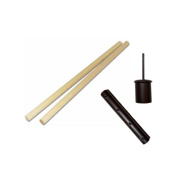 Holzmittelmast in 2 Teilen für Mittelalterzelte. Mast inklusive schwarzer Metallhülse zum Verbinden der Holzstangen sowie einer Spitze aus Eisen.